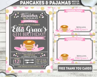 PRINTABLE or PRINTED   Pancakes and Pajamas Party!   Girl Birthday Invitation   FREE Thank you cards   Any occasion, any wording!!