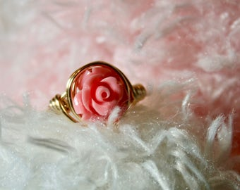 Pink Rose Ring - spring, Mother's Day