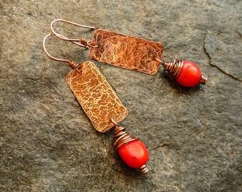 Hammered copper coral earrings, Long earrings, Artisan jewelry, Coral earrings, Red earrings, Rustic earrings, Boho jewelry, Copper jewelry