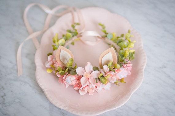 Baby Floral Crown, Blush Silk Flower Headband, Baby Deer Headband, Newborn Photo Prop, Flowergirl Hairpiece, Bohemian Baby, Boho Accessory