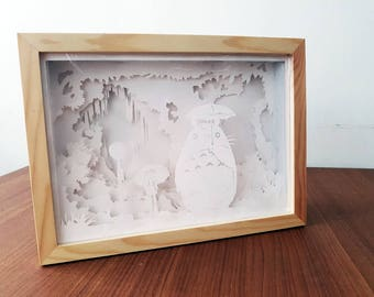 Papercut Night light, Studio Ghibi lightbox, My Neighbor Totoro papercraft