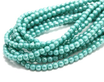 200/pc Opaque Turquoise Luster Czech 4mm Pressed Glass Round Beads