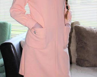 1960's Shannon Rodgers for JERRY SILVERMAN Jackie O Style Peach Wool Dress with Rhinestone Embellishment Mod Size 12/14 Medium/Large