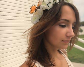 White Floral Wedding Crown, Boho headband, festival hair decoration, Floral Crown, Butterfly Crown, Bridesmaid, Bridal Hair Piece