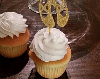 Ballet Slipper Cupcake Topper set of 12/Ballerina Party/Dance