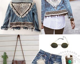 URBAN FOLK jacket jean Vintage Boho Rock ethnic 70's Style Festival Bohemia Coachella chest embroidery