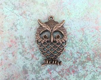 Large Tibetan Style Owl Pendant, Antique Bronze, Lead Free, Nickel Free, Bird, Animal
