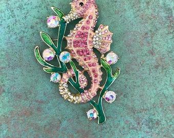 Rhinestone Seahorse Brooch, Doubles as a Pendant, Pink, Gold, Shiny, Sea Creature, Animal, Ocean, Beach, Unique