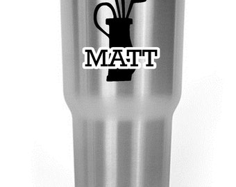 Custom Golf Bag with Name Decal YETI/RTIC/OZARK/ Corksicle Cup