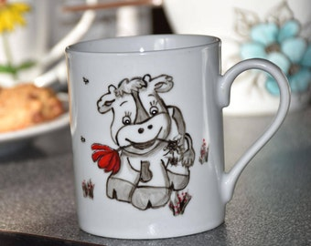 Little cow porcelain coffee tea mug hand painted
