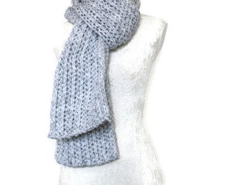 Long Knitted Scarf // Super Chunky Knitted Scarf // Unique Handmade Scarf // Grey Chunky Knit Scarf // Long Warm Womens Scarf