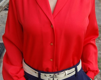 80s fire engine red button up blouse with long sleeves | vixen Mad Men secretary | Retro office attire | Summer blouse | XL