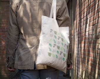 Don't leaf your bag - handprinted cotton bag/tote with urban jungle plants