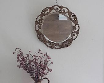 Pretty Gold Ornately Framed Vintage Round Mirror