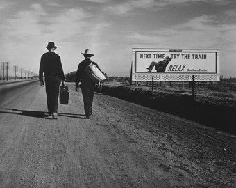Traveling Men Photograph, Missed Train Walking, Black White Photo, Wall Art, Photography, Southern Pacific railroad ad, Billboard, 1937