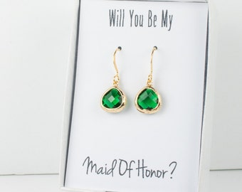 Tiny Emerald Gold Earrings, Gold Emerald Earrings, May Birthstone Gold Earrings, Bridesmaid Jewelry, Green Wedding Jewelry