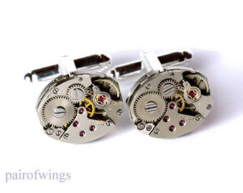 Cuff links of cufflinks for watches collector clockwork steampunk vintage including jewelry box