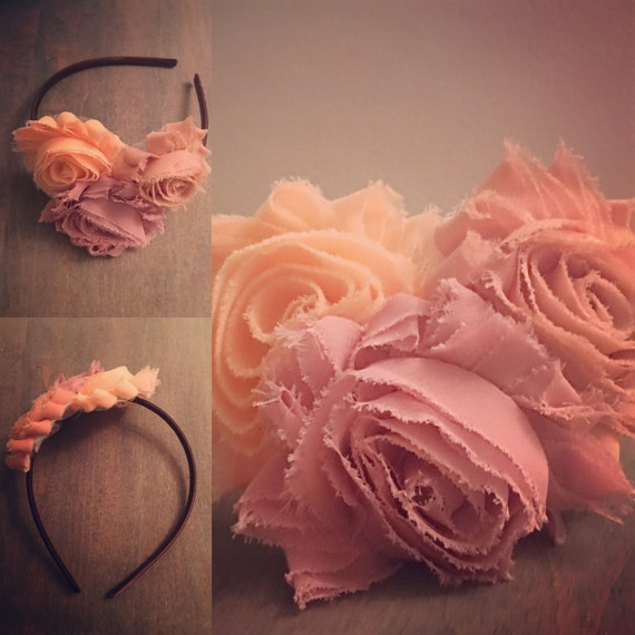 Girl's Headband with Chiffon Flowers