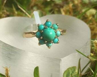 Terrific Turquoise Flower Cluster Vintage Ring