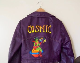 Vintage hand painted purple cropped leather jacket