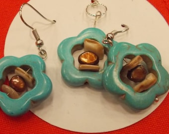 Turquoise flower with freshwater pearl and shell accents