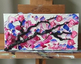 Night Cherry Blossoms - Original Mini Impasto Acrylic Painting on Canvas