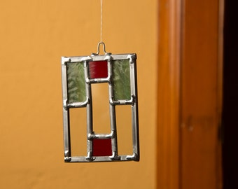 Prairie Style Stained Glass Christmas Ornament