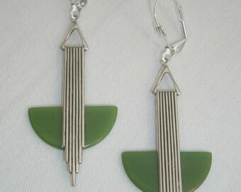 Elegant art deco 'Odeonesque' olive green bakelite earrings