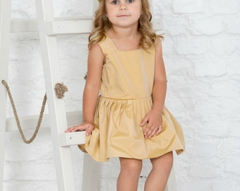 Party dress girls, sleeveless gold dress, flower girl dress, toddler baby light colour dress, Custom made, girls summer dress
