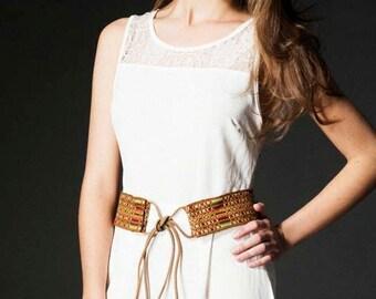 Handmade Woman boho belt inspired in ethnics and folklore by Taarach - Wampishuk