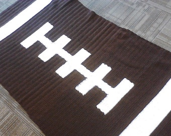 Football Blanket, Football Afghan, Crochet Football Throw, Free Shipping