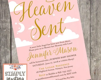 Heaven Sent Pink and Gold Baby Shower Invitation, Printed Cards, Halo, Clouds and Stars Invitation, Baby Girl Shower, Moon and Stars