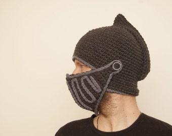 dark knight crochet helmet, boyfriend gift, handmade knight hat, winter hat, snowboard hats, knight helmet, dad gift, birthday gift