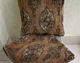 Kilim Pillow Cover Set, Vintage Rug Cushions 18x18, Turkish Kilim Pillow Case, Brown Pillow Covers, Handmade Decorative Pillows