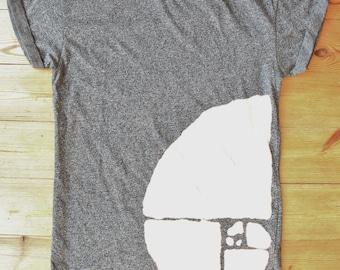 Golden Fibonacci spiral bleached t-shirt ~ unisex ~ math ~ geek ~ nerd