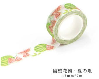 Summer Melon Japanese Washi Tape, Masking Tape, Planner Stickers,Crafting Supplies,Scraping Booking,Adhesive Tape,Floral Washi Tape