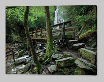 Canvas Photo Art,Large Wall Art Canvas Print,24x36, Bridge And Waterfall, Nature Photography,Free Shipping