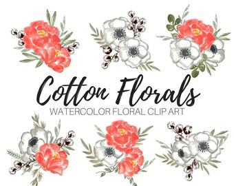 Rustic Bouquet Clip Art - Cotton clip art - Floral Clip Art - Flower Clip Art - Watercolor flowers - Wedding Clip Art - Commercial use
