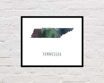 Tennessee Map Print, Tennessee Art Print, Tennessee Printable, Wall Art, Watercolor Map, Tennessee Poster, Printable State Map, Download