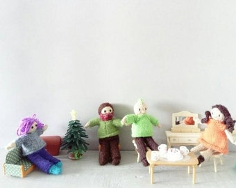 Little dolls and outfits knitting pattern - dolls house dolls - pdf knitting pattern - gift knitting - doll house knitting - little people