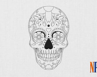 Day of the Dead Skull machine embroidery design. Calavera Sugar Skull embroidery. Dia de los muertos. Embroidery file
