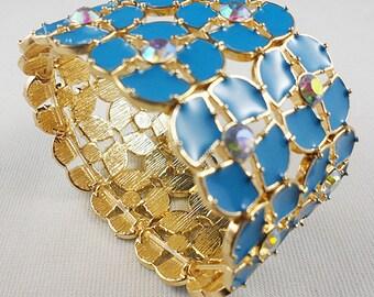 Statement Blue Floral Enamel, Crystal Cuff Bracelet