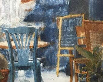 Café, Original Watercolor Painting