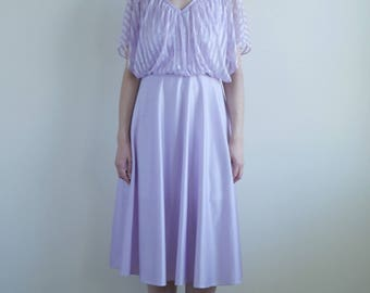 Lavender Sheer Top Slit Sleeve Dress