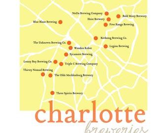 Charlotte Breweries Print