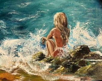 Painting, art, wall decor, acrylic, woman, ocean