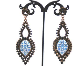 Portuguese tiles earrings