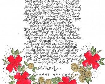 Handmade Thomas Merton Prayer Card