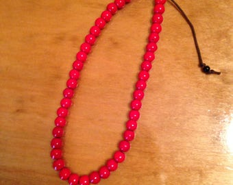 Red Corded Beaded Ankle Bracelet