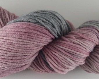 50/50 - Rose and Grey  - 100% Superwash Merino Wool SW Hand Dyed Worsted Weight Yarn